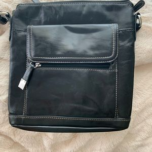 Gianni Bernini black leather shoulder bag
